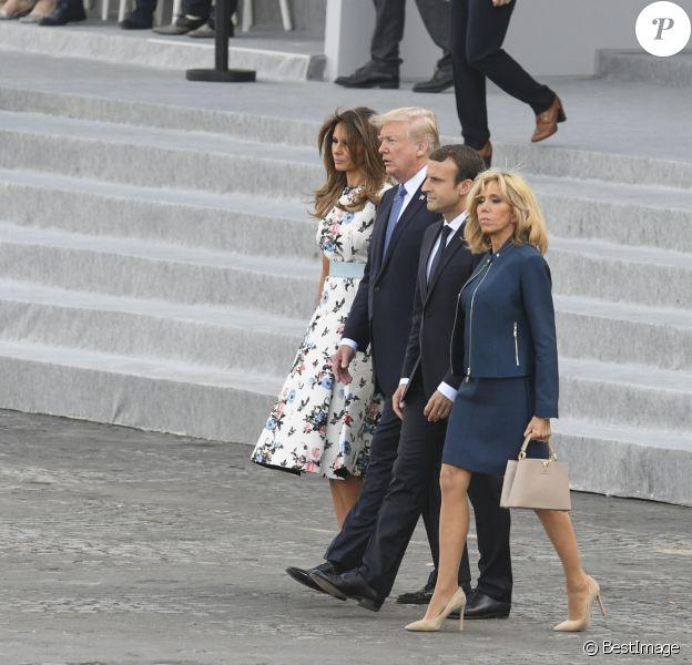 Le président de la République Emmanuel Macron, sa femme Brigitte Macron (Trogneux), le président des Etats-Unis Donald Trump et sa femme Melania Trump lors du défilé du 14 juillet (fête nationale), place de la Concorde, à Paris, le 14 juillet 2017, avec comme invité d'honneur le président des Etats-Unis. © Pierre Pérusseau/Bestimage