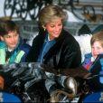 La princesse Diana avec ses fils les princes William et Harry à Lech en Autriche en 1993.