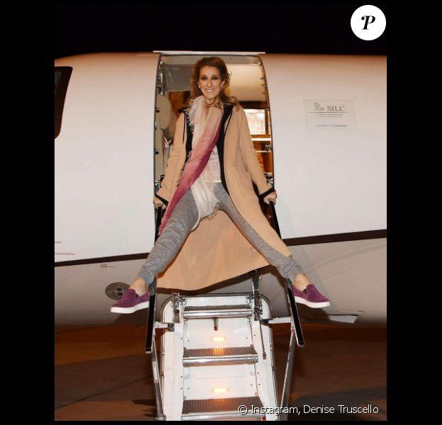Céline Dion en chemin pour son concert à Glasgow, le dernier de sa tournée 2017, le 5 août
