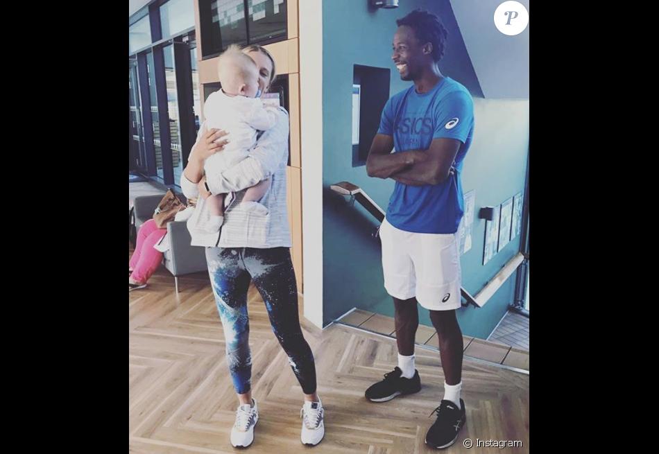 """Victoria Azarenka et son fils Leo, né en décembre 2016, avec """"tonton"""" Gaël Monfils, ami de la tenniswoman biélorusse. Photo Instagram 8 juillet 2017."""