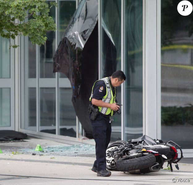 """La police sur le tournage de """"Deadpool 2"""" à Vancouver, où une jeune cascadeuse a trouvé la mort le 14 août 2017."""
