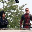 """Ryan Reynolds et Zazie Beetz sur le tournage du film """"Deadpool 2"""" à Burnaby. Le 3 août 2017"""