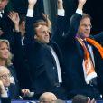 Le président de la FFF Noël le Graët, le président de la République française Emmanuel Macron, le Premier ministre des Pays-Bas Mark Rutte et le Premier Ministre Edouard Philippe - Célébrités lors du match pour les éliminatoires de la Coupe du Monde 2018, France - Pays-Bas au Stade de France à Saint-Denis, le 31 août 2017. La France a gagné 4-0. © Agence/Bestimage