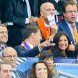 Le président de la République française Emmanuel Macron, le Premier ministre des Pays-Bas Mark Rutte et la maire de Paris Anne Hidalgo - Célébrités lors du match pour les éliminatoires de la Coupe du Monde 2018, France - Pays-Bas au Stade de France à Saint-Denis, le 31 août 2017. La France a gagné 4-0. © Agence/Bestimage