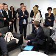 Exclusif : Philippe Besson, Emmanuel Macron, Brigitte Macron et leurs familles au QG de campagne au soir du deuxième tour, dans l'attente des résultats des -élections présidentielles, à Paris. Le 7 mai 2017. © Dominique Jacovides - Sébastien Valiela / Bestimage