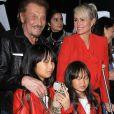 """""""Johnny Hallyday, sa femme Laeticia et leurs filles Jade et Joy au vernissage de l'exposition du photographe Mathieu Cesar à Los Angeles. Le 21 février 2017."""""""
