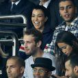 """Kourtney Kardashian et son compagnon Younes Bendjima, Robin Wright et son fils Hopper Jack assistent au match de Champions League """"PSG - Bayern Munich (3-0)"""" au Parc des Princes à Paris, le 27 septembre 2017. © Cyril Moreau/Bestimage"""