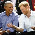 Barack Obama et le prince Harry dans les tribunes des Invictus Games à Toronto, le 29 septembre 2017.