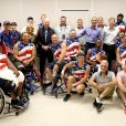 Joe Biden, Jill Biden, Barack Obama et le prince Harry posent avec la team USA - Invictus Games 2017 à Toronto, le 29 septembre 2017.