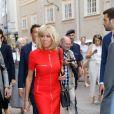 La Première dame Brigitte Macron visite la ville de Salzbourg, Autriche, le 23 août 2017.