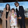 Angelina Jolie, Agnès Varda, JR à la première de 'Faces Places' au Pacific Design center à West Hollywood, le 11 octobre 2017 © Chris Delmas/Bestimage