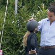 """Olivier Sarkozy encourage sa femme Mary-Kate Olsen lors du jumping """"Hampton Classic Horse Show """" à Bridgehampton près de New York le 1er septembre 2016."""