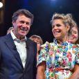 Christian Estrosi, le maire de Nice, et sa femme, Laura Tenoudji durant le traditionnel Lou Festin Nissart organisé à Nice par l'association des Amis du Maire sur la Coulée Verte privatisée pour l'événement le 1er septembre 2017. © Bruno Bebert/Bestimage