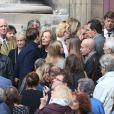 Françoise Vidal lors des obsèques de Jean Rochefort en l'église Saint-Thomas d'Aquin à Paris, le 13 octobre 2017