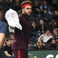 """Jo-Wilfried Tsonga a été battu par J. Benneteau (2-6, 7-6, 6-2) lors du 2ème tour du tournoi de tennis """"Rolex Paris Masters 2017"""" à l'AccorHotels Arena à Paris, France, le 1er novembre 2017. © Perusseau-Veeren/Bestimage"""