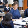 La première dame des Etats-Unis Melania Trump et la femme du Premier ministre japonais, Akie Abe visitent une école de calligraphie à Tokyo, Japon, le 6 novembre 2017.