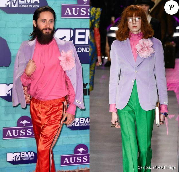 Jared Leto, tout de Gucci vêtu (veste et chemise de la collection femme, automne-hiver 2017) aux MTV EMA 2017 à Londres.