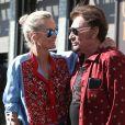 """""""Johnny Hallyday avec sa femme Laeticia, leurs filles Jade et Joy, Marie Poniatowski avec son mari Pierre Rambaldi et leur fille Tess, à Santa Monica, le 1er avril 2017."""""""