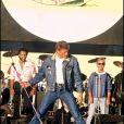 Johnny Hallyday lors du concert des chanteurs sans frontières, à Paris, le 13 octobre 1985