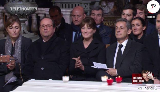 Julie Gayet, François Hollande, Carla Bruni, Nicolas Sarkozy aux obsèques de Johnny Hallyday à Paris. Le 9 décembre 2017.