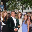 """Sylvester Stallone, sa femme Jennifer Flavin, et leurs filles Sophia, Sistine et Scarlet - Avant-première du film """"The Expendables 3"""" à Londres, le 4 août 2014"""