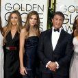 Sylvester Stallone, sa femme Jennifer Flavin et leurs filles Sophia, Sistine et Scarlet - La 73ème cérémonie annuelle des Golden Globe Awards à Beverly Hills, le 10 janvier 2016.
