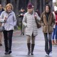 L'infante Elena d'Espagne avec sa fille Victoria et sa soeur l'infante Cristina dans les rues de Vitoria au Pays basque le 29 décembre 2017.