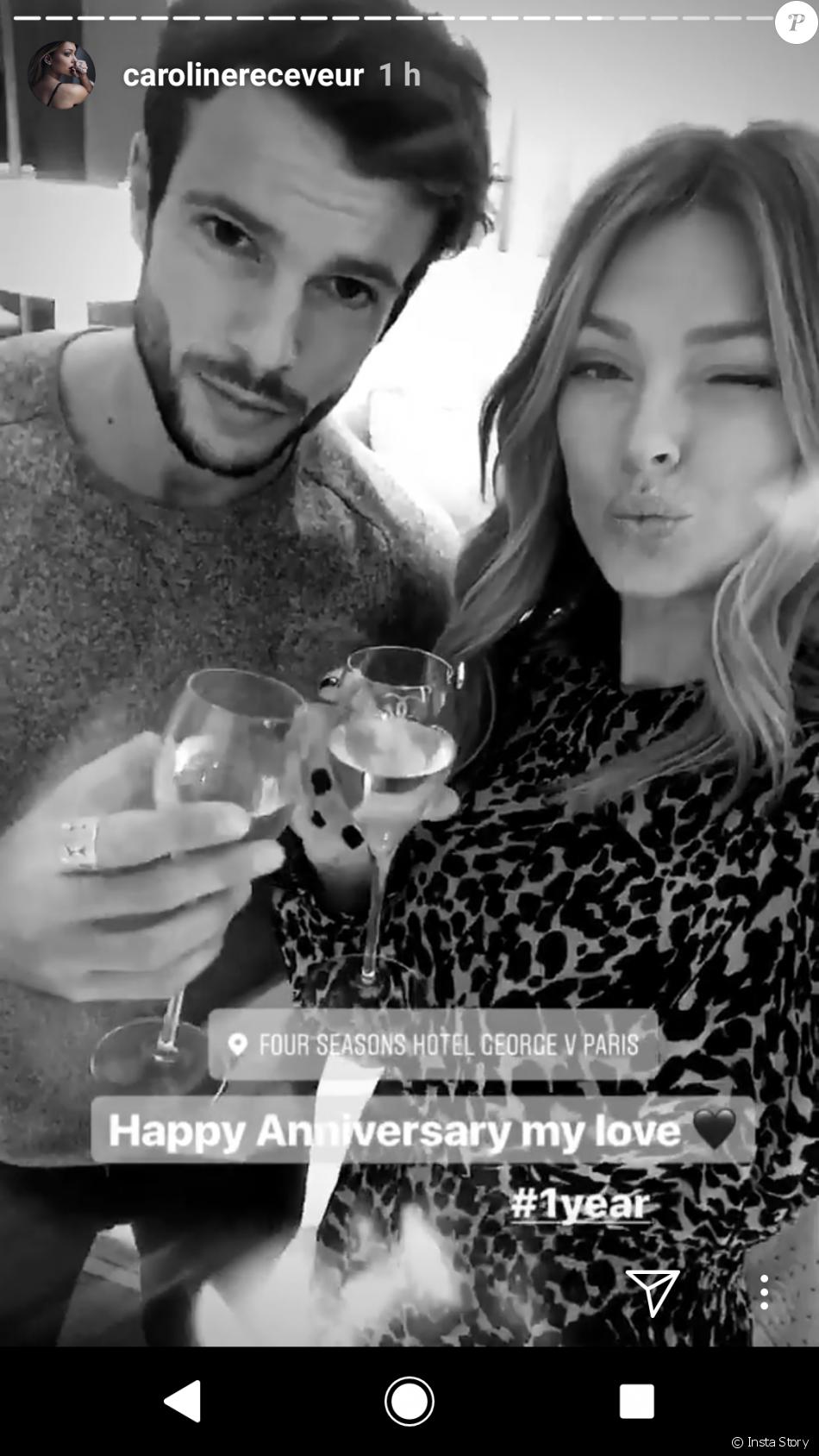 Caroline Receveur et Hugo Philip fêtent leurs un an d'amour, 12 janvier 2018