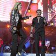 """Sylvie Vartan et Johnny Hallyday au Stade de France pour le """"Tour 66"""", le 31 mai 2009."""