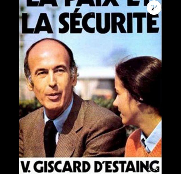 Affiche de campagne de Valéry Giscard d'Estaing en 1974 avec sa fille Jacinte.
