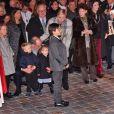 Le prince Albert II de Monaco, la princesse Charlene et leur enfant le prince héritier Jacques et la princesse Gabriella - La famille princière de Monaco lors des traditionnelles célébrations de la Sainte Dévote, sainte patronne de Monaco et de la famille princière, à Monaco. Le 26 janvier 2018 © Bruno Bebert / Bestimage