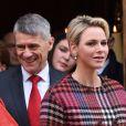 La princesse Charlene et le prince Albert II de Monaco à la sortie de la messe à l'occasion de la célébration de Sainte Dévote à Monaco. Le 27 janvier 2018 © Bruno Bebert / Bestimage