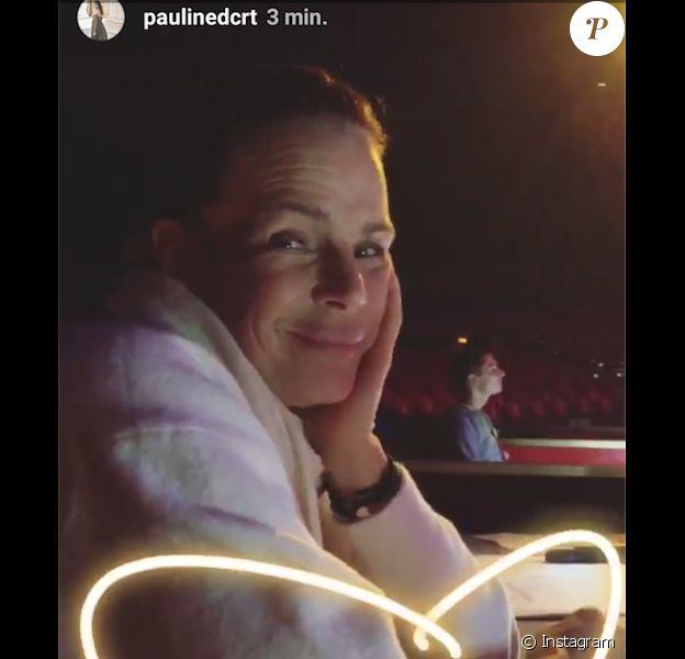 Stéphanie de Monaco filmée le 1er février 2018, jour de son 53e anniversaire, par sa fille Pauline Ducruet lors des répétitions du Festival New Generation sous le chapiteau de Fontvieille à Monte-Carlo, en story Instagram.