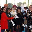 Stéphanie de Monaco entourée de ses filles Pauline Ducruet et Camille Gottlieb ainsi que du prince Albert II et des jumeaux Jacques et Gabriella le 21 janvier 2018 au 42e Festival international du cirque de Monte-Carlo. © Olivier Huitel / Pool Monaco / Bestimage