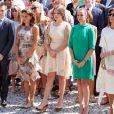 La princesse Stéphanie de Monaco entourée de ses enfants Louis Ducruet, Camille Gottlieb et Pauline Ducruet lors des célébrations des 10 ans de règne du prince Albert II de Monaco à Monaco, le 11 juillet 2015.
