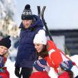 Le prince William et la duchesse Catherine de Cambridge, enceinte, visitent le site de l'école nationale de saut à ski à Oslo le 2 février 2018.