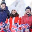 La princesse Mette-Marit de Norvège - Le prince William, duc de Cambridge et Catherine Kate Middleton (enceinte), duchesse de Cambridge visitent le site de l'école nationale de saut à ski à Oslo le 2 février 2018.  The Duke and Duchess of Cambridge attended the Holmenkollen ski jump then went on to a ski nursery at Ovreseterjern 2 February 2018.02/02/2018 - Oslo