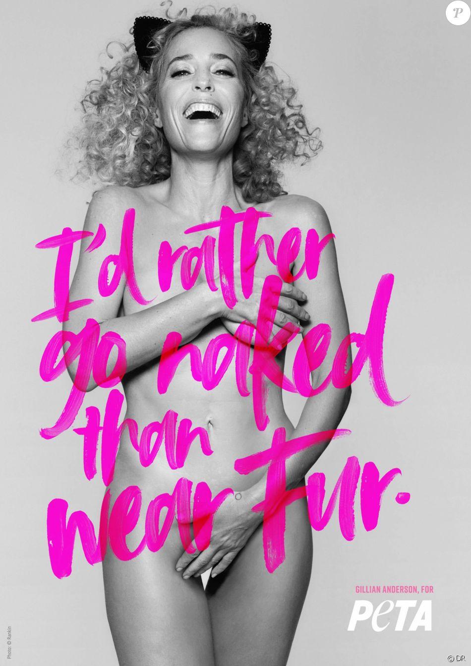 Gillian Anderson, nue pour la campagne anti-fourrure de la PETA. Photo par Rankin.