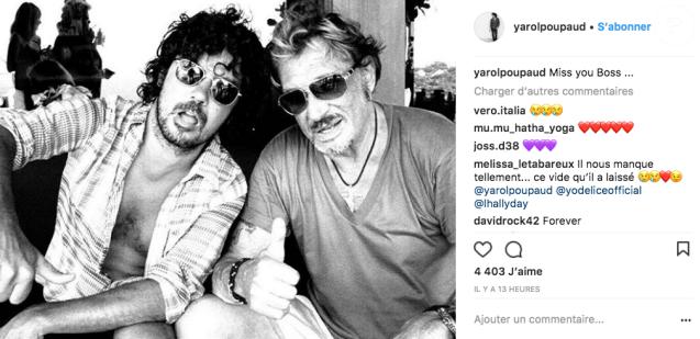 Yarol Poupaud et Johnny Hallyday sur une photo publiée sur le compte Instagram de Yarol Poupaud le 11 février 2018.