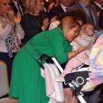 Exclusif - Laura Tenoudji Estrosi et sa fille Bianca assistent à la traditionnelle cérémonie des Voeux de l'association des Amis du Maire au Palais de la Méditerrannée à Nice le 29 janvier 2018. © Bruno Bebert/Bestimage