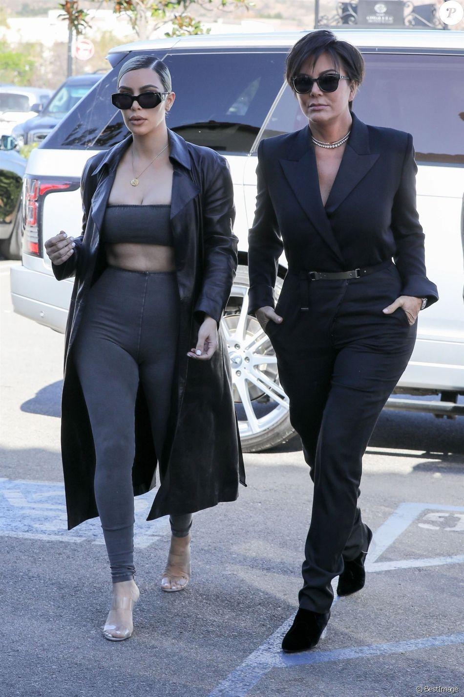 Exclusif , Kim Kardashian est allée déjeuner avec sa mère Kris Jenner et  son ex beau,frère Scott Disick à Los Angeles, le 8 février 2018 Exclusive ,  Reality