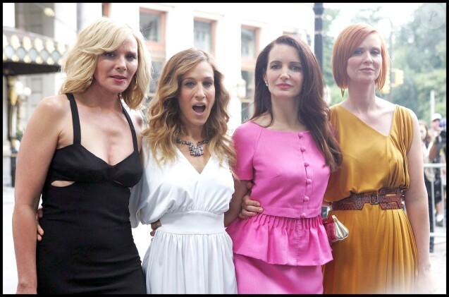 """Kim Cattrall, Sarah Jessica Parker, Kristin Davis et Cynthia Nixon  sur le tournage du film """"Sex And The City 2 """" à New York le 6 septembre 2009."""