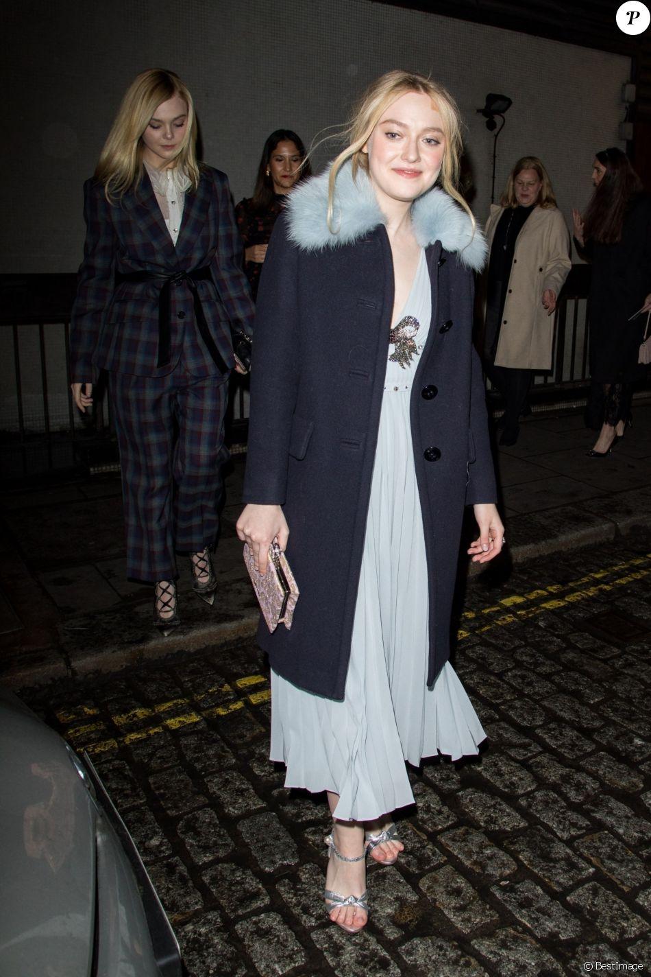 Dakota Fanning et sa soeur Elle Fanning - Soirée Miu Miu Women's Tales au club Loulou's à Londres, Royaume Uni, le 20 fevrier 2018.