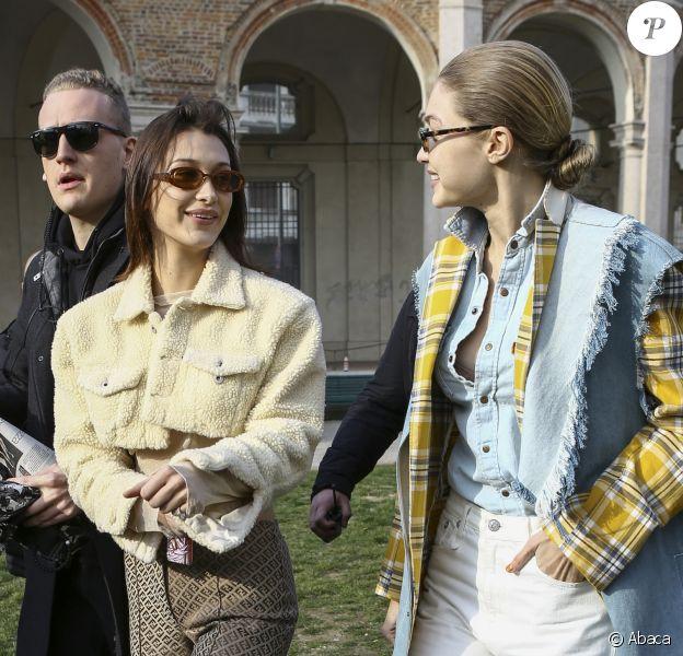 Gigi et Bella Hadid à Milan, le 21 février 2018.