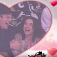 Ashton Kutcher et Mila Kunis s'embrassent devant la Kiss Cam. (capture d'écran)