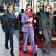 Thylane Blondeau, Bella et Gigi Hadid quittent le Royal Monceau à Paris. Février 2018.