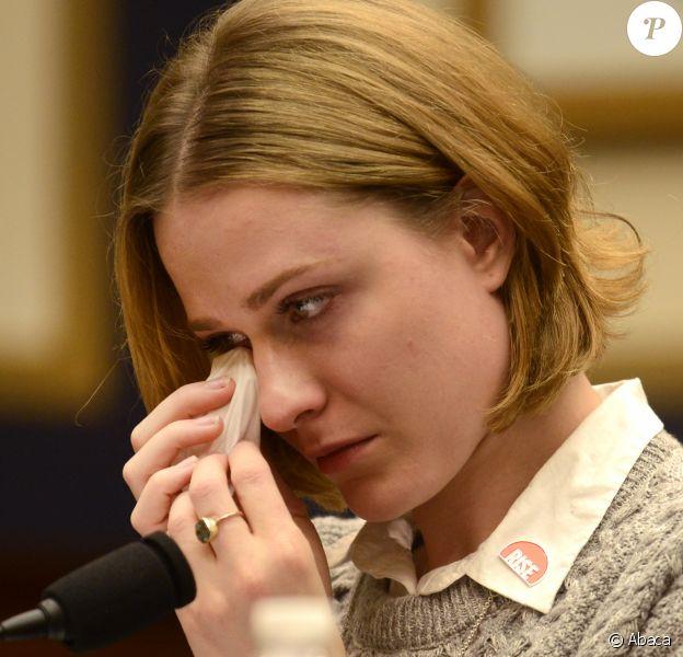 Evan Rachel Wood témoigne devant le Congrès américain, à Washington le 27 février 2018. L'actrice défend le Survivors' Bill of Rights Act pour le svictimes d'abus sexuels.