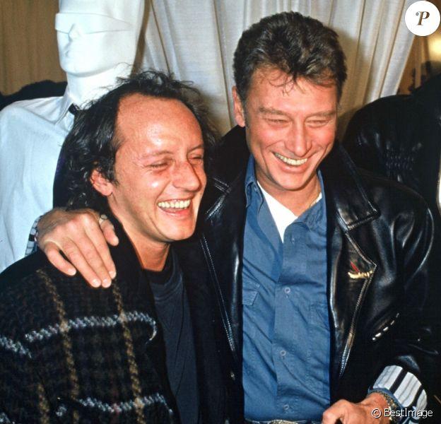 Johnny Hallyday et Didier Barbelivien à PAris en 1988.