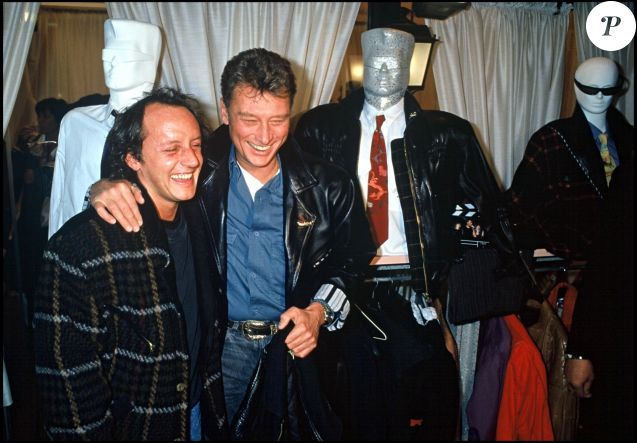 Johnny Hallyday et Didier Barbelivien à PAris en 1988.