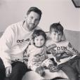 Lionel Messi avec ses fils Thiago et Mateo, photo Instagram d'Antonella Roccuzzo le 15 février 2018